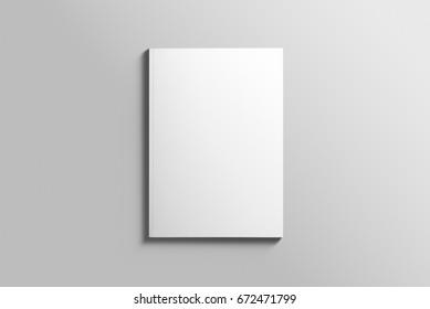 Бланк A4 фотореалистичный макет брошюры на светло-сером фоне, 3d Иллюстрация.