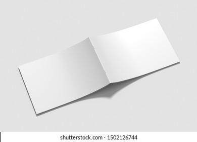 Blank A4 photorealistic landscape brochure mockup on light grey background, 3D rendering