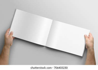 Blank A4 photorealistic landscape brochure mockup on light grey background, 3D illustration.