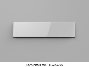 Blank acrylic holder for frame door and wall signage or name plate. 3d render illustration.