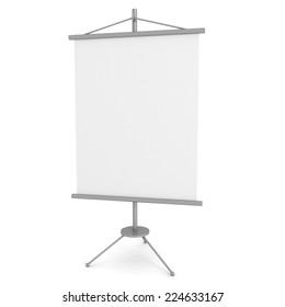blank advertising banner stand on white background. 3d render illustration