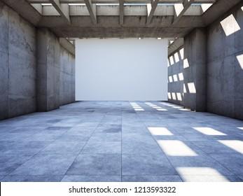 Blank advertising billboard in concrete tunnel. 3D illustration.