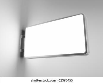 Blank advertising billboard on gray background