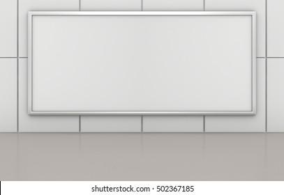 Blank advertising billboard on tile wall. 3d rendering