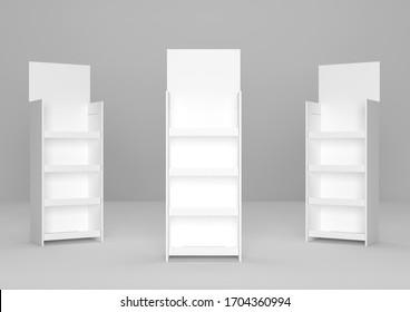 Leere Werbung Wellpappe Supermarkt Pappe Produkt Display Shelf. 3D-Render-Illustration.