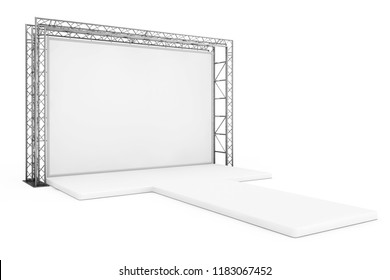 Blank Advertising Outdoor Banner on Metal Truss Construction System with Empty Podium on a white background. 3d Rendering
