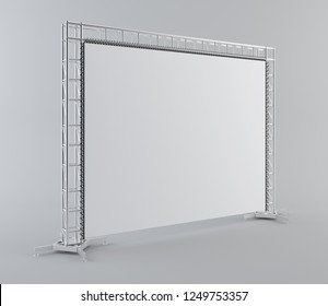 Blank advertising outdoor banner on truss system. 3d rendering