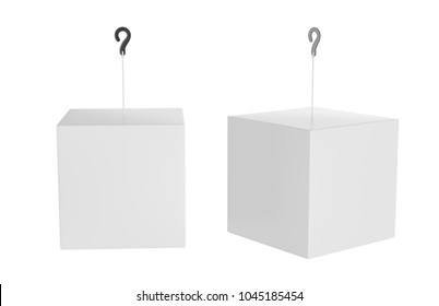 Blank Advertising Paper Promotional Cube Dangler And Hanging Box For Design Presentation. 3d Render Illustration.