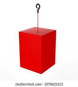 Blank Advertising PVC  Promotional cube Dangler And Hanging box For Design Presentation. 3d Render Illustration.