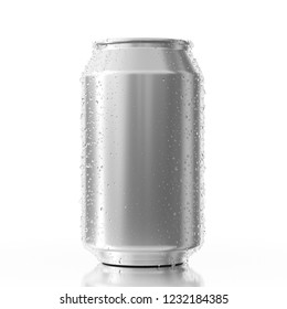 Blank Aluminum Can with Water Drops on a white background. 3d Rendering