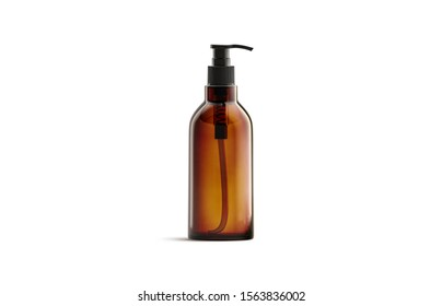 Blank amber glass pump bottle for oil mockup isolated, 3d rendering. Empty salve or balsam jar mock up, front view. Clear brown tube with oily or foam for spa healthcare mokcup template.