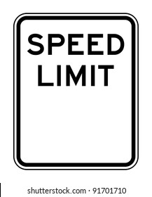 Blank American speed limit sign isolated on white background with copy space.
