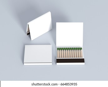 Blank ampty matches white book mock up 3d rendering