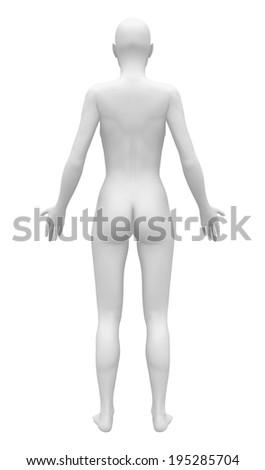 Blank Anatomy Female Figure Back View Stock Illustration 195285704