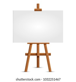 Blank art board and realistic wooden easel. Wooden Brown  Easel with Mock Up Empty Blank Square Canvas Isolated on white background.