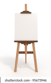 Blank art board, wooden easel, front view, isolated on white, with clipping path, 3d illustration