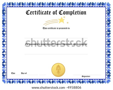 Blank Award Certificate Form Stock Illustration 4958806 - Shutterstock