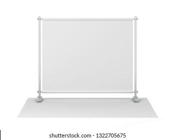 Blank backdrop banner mockup. 3d illustration isolated on white background