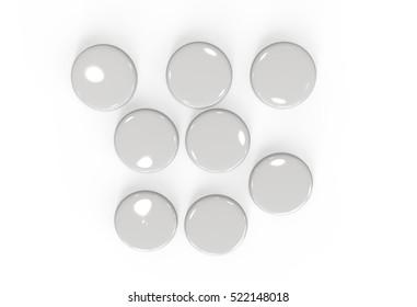 Blank badges isolated on white background. Mockup. 3D illustration