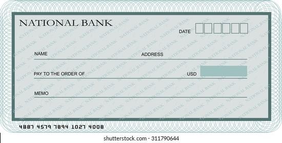 check cheque chequebook template guilloche pattern stock vector