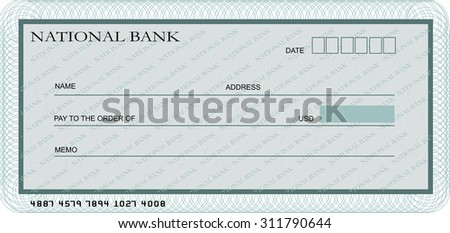 blank bank cheque template shades greenのイラスト素材 311790644