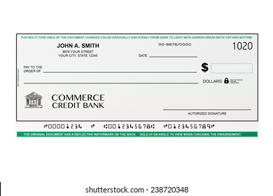 Blank Banking Check on a white background