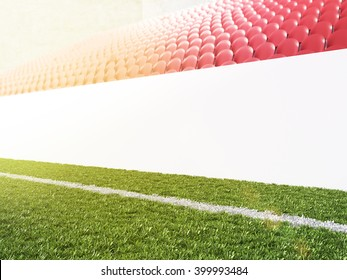 Blank banner around pitch, red seats. Side view. Concept of sport advertising. Mock up. 3D rendering