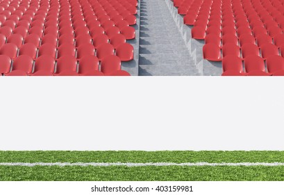 Blank banner around pitch, red seats, aisle between them. Front view. Concept of sport advertising. Mock up. 3D rendering