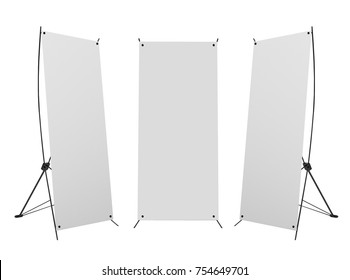 Blank banner X-Stands tree displays isolated over white background . 3d rendering