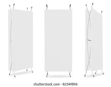 Blank banner X-Stands tree displays for design work (3D render)