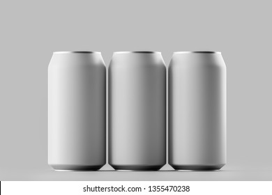 Blank beer, cola, soda aluminium can mockup on background. With place for your design and branding. 3D rendering.
