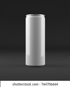 Blank beer, cola, soda aluminium can mockup on dark, black background. With place for your design and branding. 3D illustration