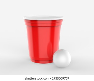 Blank beer pong disposable cups and ball set for branding and mockup. 3d render illustration.