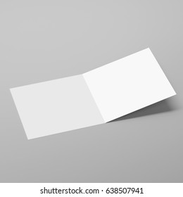 Blank Bi-Fold Square Brochure / Leaflet / Pamphlet / Greeting Card Mock-up Template  on Isolated Background, 3D Illustration