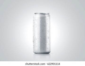 Blank big cold aluminium beer can mockup with drops, 500 ml, 3d rendering. Empty fresh soda tin packing mock up with condensate, isolated. Canned dripping drink design template.