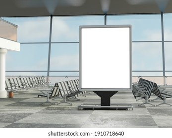 Blank billboard in an airport or train station terminal. 3d illustration