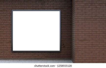Blank billboard lightbox or urban media LCD screen on brown brick wall. Empty street advertising signboard. 3D illustration with copy space