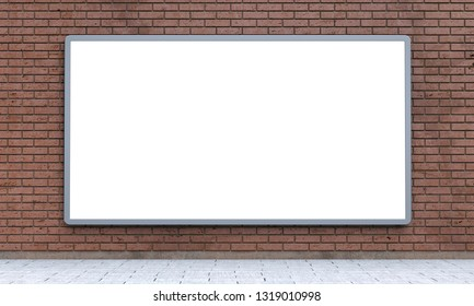 Blank billboard lightboxe or urban media LCD screen on brown brick wall. Empty street advertising signboard. 3D illustration, copy space