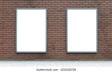 Blank billboard lightboxes or urban media LCD screens on brown brick wall. Empty street advertising signboards. 3D illustration, copy space