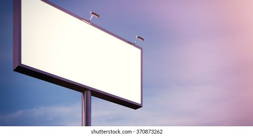Blank billboard made of chrome metal  at twilight ready for advertisement. Flare effect. 3d render