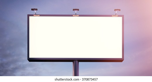 Blank billboard made of chrome metal at twilight ready for new advertisement. Flare effect. 3d render