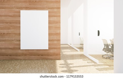 blank billboard mockup at office 3d rendering