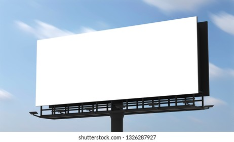 blank billboard on blue sky background with selection path. 3D rendering