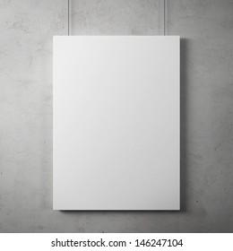 Blank billboard on  the wall