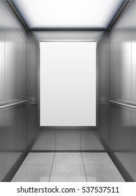 Blank billboard or poster inside of empty elevator cabin. 3D illustration.