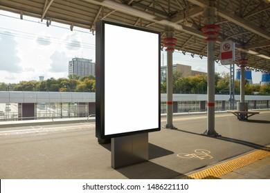 Blank billboard poster stand mock up on platform of railway station. 3d illustration.