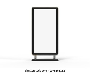 Blank billboard,  public information board or promotional content mockup on a white background, 3d illustration.