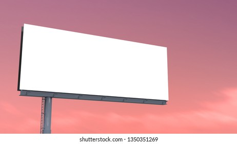 blank billboard size ratio 32:12 on pink sky background with selection path. 3D rendering.