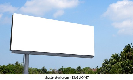 blank billboard size ratio 32:12 on blue sky background with selection path. 3D rendering
