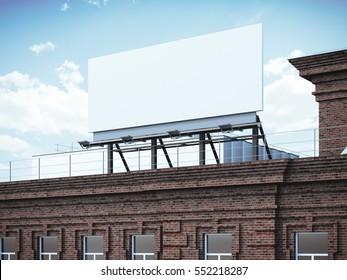 Blank billboard standing on classic brick building. 3d rendering